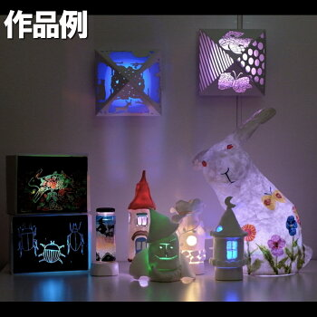 光が七色に変化!デコデコLEDライト1灯7色丸型【工作光源ランプLED】