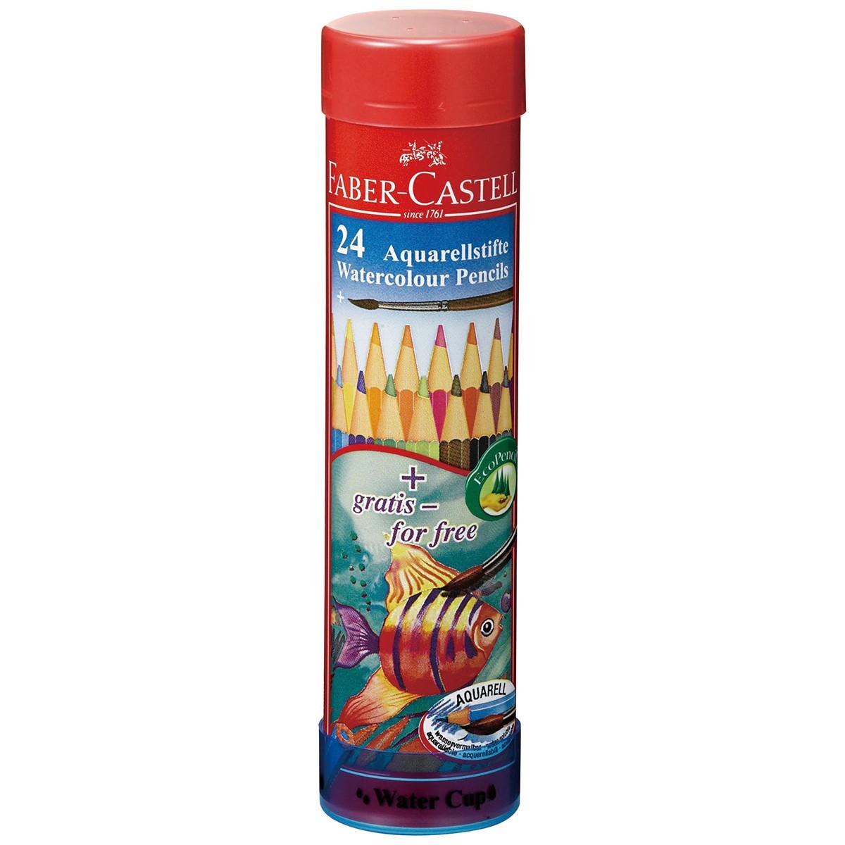 ファーバーカステル 水彩色鉛筆 丸缶 24色セット 【 デッサン スケッチ 絵画 水溶性 水彩 色鉛筆 色えんぴつ 】