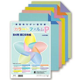 カラードフォルムP B4判 厚口 5枚組【 色紙 両面色ちがい 造形紙 製作 パステル 】