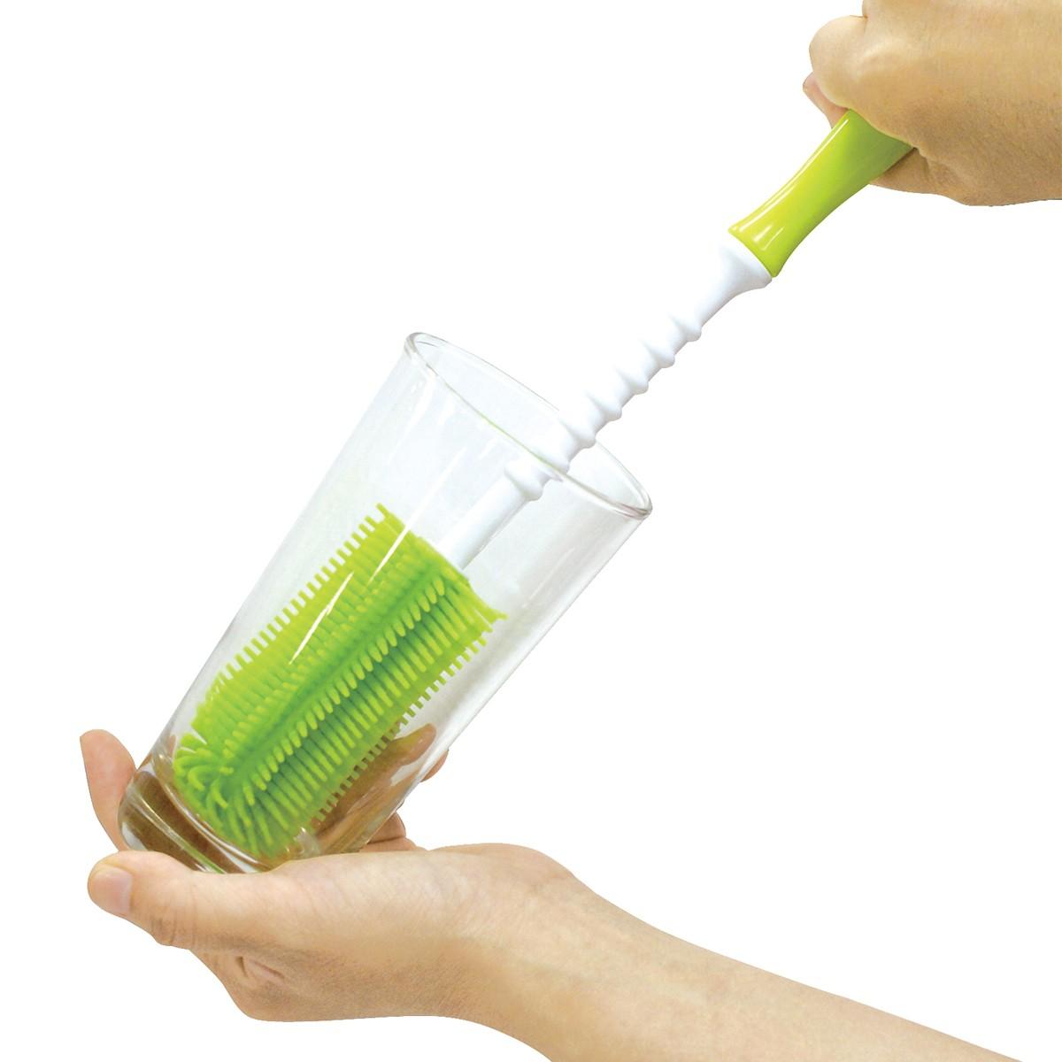 エジソン シリコーンブラシ グリーン KJH2007 【 洗浄 コップ ブラシ 】