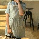 ネコポス送料無料 子供用 くすみカラー エプロンワンピース 前ポケット付き 前掛け グレー ピンク ミントグリーン ブ…