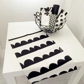 ネコポス送料無料 モノトーン マルチクロス 30×45cm ナプキン テーブルリネン ハーフムーン ボーダー クロス トライアングル ネコ ブラック ホワイト【art of black】