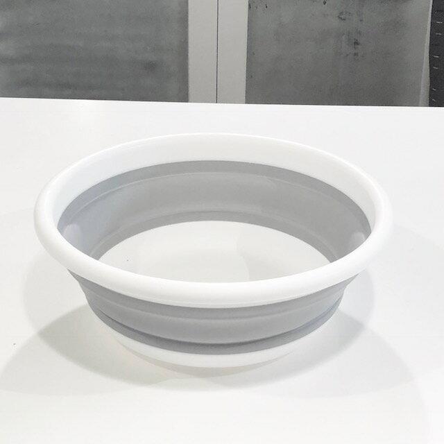 折りたたみタブ 洗面器 桶 モノトーン ストレージ バイカラー【art of black】インテリア 白 グレー ホワイト