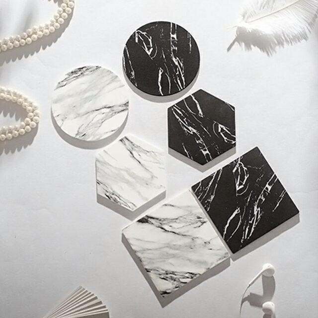 同色2枚セット 大理石柄 PVC素材 コースター ラウンド ヘキサゴン スクエア 六角形 正方形 インテリア【art of black】