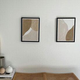 アートポスター ベージュ ブラウン 30cm×40cm フレーム付き 【art of black】