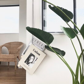マガジンハンガー ウッドビーズ(白木)×ブラックレザーコード 本 ブックハンガー 雑誌 壁掛け【art of black】