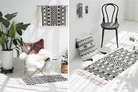 タイプ2ロングキリム柄フリンジラグ60×140cmフロアマットコットンジャガード織り白黒ホワイトブラック壁掛けモノトーン【artofblack】