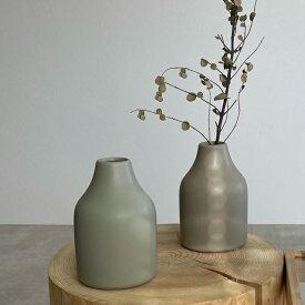 陶器 シンプル フラワーベース 花瓶 ホワイト グレージュ ブラック アッシュグレー 【art of black】