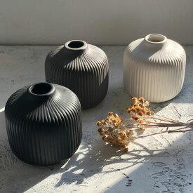 フラワーベース 花瓶 陶器 ライン 一輪挿し 11cm×11cm ホワイト グレー ブラック【art of black】
