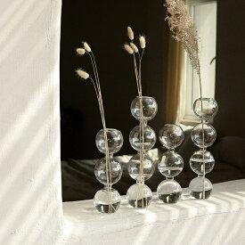 ガラス バブル型 フラワーベース 3連 4連 花瓶【art of black】