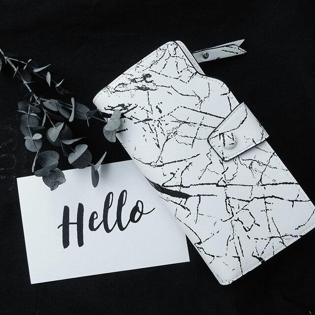 大理石柄 財布 小銭入れ マーブル モノトーン 男前 ホワイト ストラップ付き カード11枚収納【art of black】