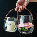 レザーハンドルグラス フラワーベース 花瓶【art of black】