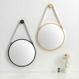 直径38cm アイアン サークルミラー 鏡 ブラック ホワイト ゴールド 壁掛け ○型 丸 ラウンド 黒 白 金 【art of black】