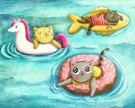 【My Zoetrope アートポスター】CAT POOL FLOATS(508×635mm) -おしゃれインテリアに-(余白カット済みポスター) ねこプール