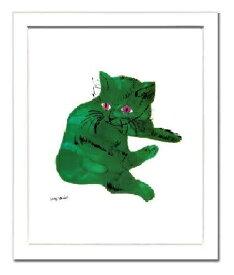 【アンディ・ウォーホル額付ポスター】緑の猫1956年(320×390×15mm)