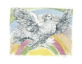 【ピカソ アートポスター】虹の背景と飛翔する鳩1952年(281×358mm)