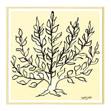 【アンリ・マティス 木製額装ポスター】低木(700×700×24mm) -おしゃれインテリアに-