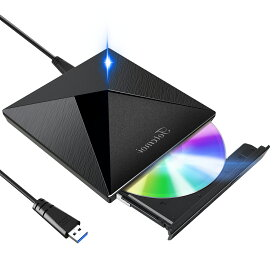 【おまけ付き】【令和モデル】 DVDドライブ CDドライブ usb ポータブルドライブ USB3.0 外付け CD/DVD プレイヤー CD/DVDドライブ CD/DVD読取/書込DVD±RW CD-RW USB3.0/2.0 Window/Mac OS/XP/Vista等対応 日本語取扱説明書付き