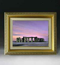 Stone henge F4サイズ 【油絵 直筆仕上げ絵画】【額縁付】 油彩 風景画 オリジナルインテリア絵画 風水画 477×387mm 送料無料