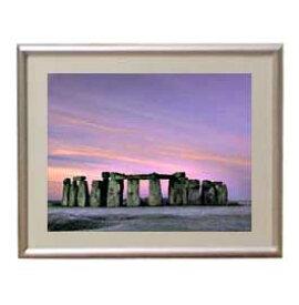 Stone henge アートフレーム:色シルバー サイズS 310×260mm 【油絵 直筆仕上げ絵画】【布キャンバス・額表面保護板】 油彩 風景画 オリジナルインテリア絵画 風水画