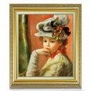 ルノワール 白い帽子の少女 F10 【油絵 直筆仕上げ 複製画】【額縁付】 絵画 販売 10号 油彩 人物画 673×599mm…