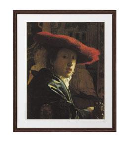 フェルメール 赤い帽子の少女 アートフレーム サイズL:ブラウン 【油絵 直筆仕上げ 複製画】【油彩 布キャンバス 国内生産】 絵画 販売 人物画 651×541mm 送料無料