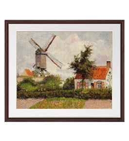 カミーユ・ピサロ Windmill at Knocke, Belgium アートフレーム サイズL:ブラウン 【油絵 直筆仕上げ 複製画】【油彩 布キャンバス 国内生産】 絵画 販売 風景画 651×541mm 送料無料