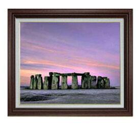 Stone henge F12サイズ 【油絵 直筆仕上げ】【額縁付】 油彩 風景画 オリジナルインテリア絵画 風水画 ブラウン額縁 757×656mm 送料無料