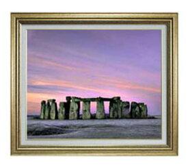 Stone henge F12サイズ 【油絵 直筆仕上げ】【額縁付】 油彩 風景画 オリジナルインテリア絵画 風水画 ゴールド額縁 757×656mm 送料無料