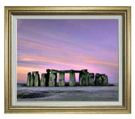 Stone henge F15サイズ 【油絵 直筆仕上げ】【額縁付】 油彩 風景画 オリジナルインテリア絵画 風水画 ゴールド額縁 812×690mm 送料無料