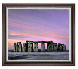 Stone henge F20サイズ 【油絵 直筆仕上げ】【額縁付】 油彩 風景画 オリジナルインテリア絵画 風水画 ブラウン額縁他各種 887×766mm 送料無料