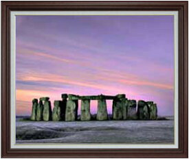 Stone henge F30サイズ 【油絵 直筆仕上げ】【額縁付】 油彩 風景画 オリジナルインテリア絵画 風水画 ブラウン額縁 1070×887mm 送料無料