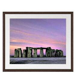 Stone henge アートフレーム:色ブラウン サイズL 651×541mm 【油絵 直筆仕上げ絵画】【軽量フレーム・額表面保護板】 油彩 風景画 オリジナルインテリア絵画 風水画 壁掛け