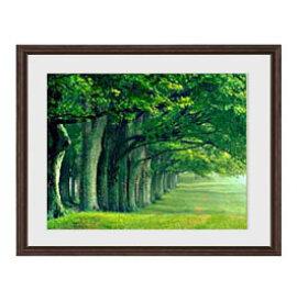 the green woods アートフレーム:色ブラウン サイズM 521×428mm 【油絵 直筆仕上げ絵画】【軽量フレーム・額表面保護板】 油彩 風景画 オリジナルインテリア絵画 風水画 壁掛け