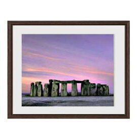 Stone henge アートフレーム:色ブラウン サイズM 521×428mm 【油絵 直筆仕上げ絵画】【軽量フレーム・額表面保護板】 油彩 風景画 オリジナルインテリア絵画 風水画 壁掛け