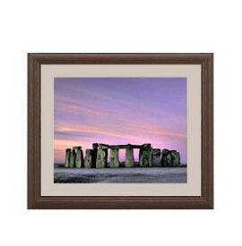 Stone henge アートフレーム:色ブラウン サイズS 321×271mm 【油絵 直筆仕上げ絵画】【軽量フレーム・額表面保護板】 油彩 風景画 オリジナルインテリア絵画 風水画 壁掛け