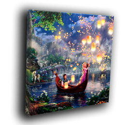 ディズニー/トーマス・キンケード「塔の上のラプンツェル」作品証明書・展示用フック付キャンバスジークレ【インテリア】【アート】【Disney】【絵画インテリア】