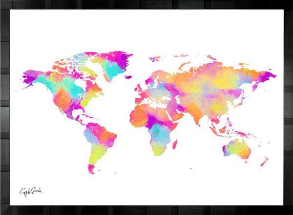 絵画 インテリア ブランドオマージュアート/クレイグ・ガルシア「ルイ・ヴィトン/ワールドマップ」ポスター ポップアート ヴィトン オマージュ