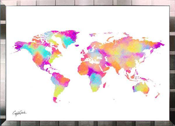 絵画 インテリア ブランドオマージュアート/クレイグ・ガルシア「ルイ・ヴィトン/ワールドマップ(S)」ポスター ポップアート ヴィトン オマージュ