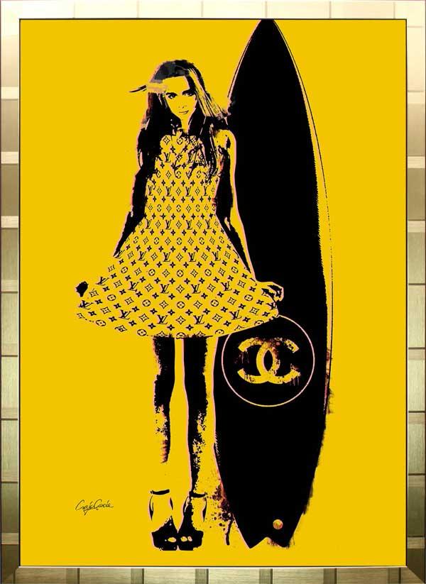 絵画 インテリア ブランドオマージュアート/クレイグ・ガルシア「シャネル&ルイ・ヴィトン/サーフィンb(G)」ポスター ポップアート シャネル ヴィトン オマージュ
