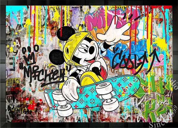 絵画 インテリア ディズニー×ブランドオマージュアート/スターデザイン「ミッキー×ルイ・ヴィトン」ポスター ポップアート ディズニー ルイ・ヴィトン オマージュ