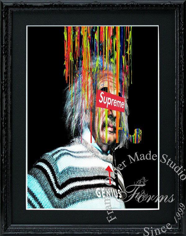 絵画 インテリア ブランドオマージュアート/スターデザイン「アインシュタイン×シュプリーム」ポスター ポップアート シュプリーム オマージュ