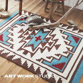 【アートワークスタジオ公式】【ポイント10倍】 ARTWORKSTUDIO アートワークスタジオ Native rug / Hills(S) ネイティブラグ / ヒルズ柄(S) 玄関マット 80x50cm ネイティブアメリカン柄 アクリル ラグマット おしゃれ エスニック