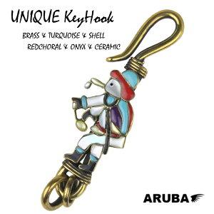 キーフック 真鍮 セラミック ベルトフック フック キーホルダー ブラス ゴールド チェーン ブルー キー リング キーリング 鍵 ネイティブアメリカン インディアン ジュエリー アクセサリー
