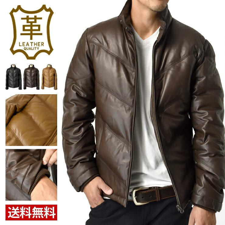 高級羊革 本革ラムレザー ダウンジャケット【L2E】【送料無料】【メンズ】