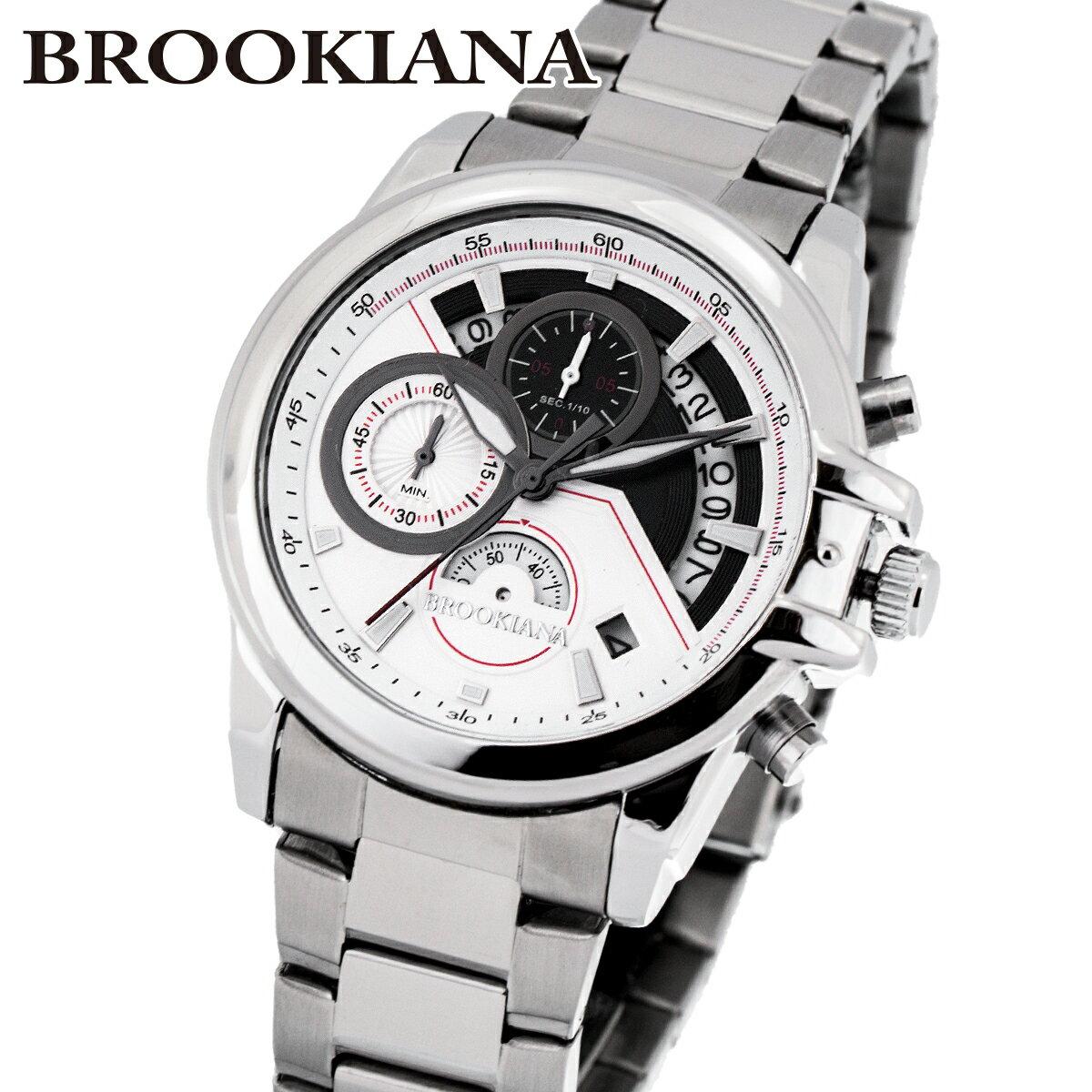 ブルッキアーナ BROOKIANA ba0083-wh メンズ 時計 腕時計 カレンダー クォーツ 防水