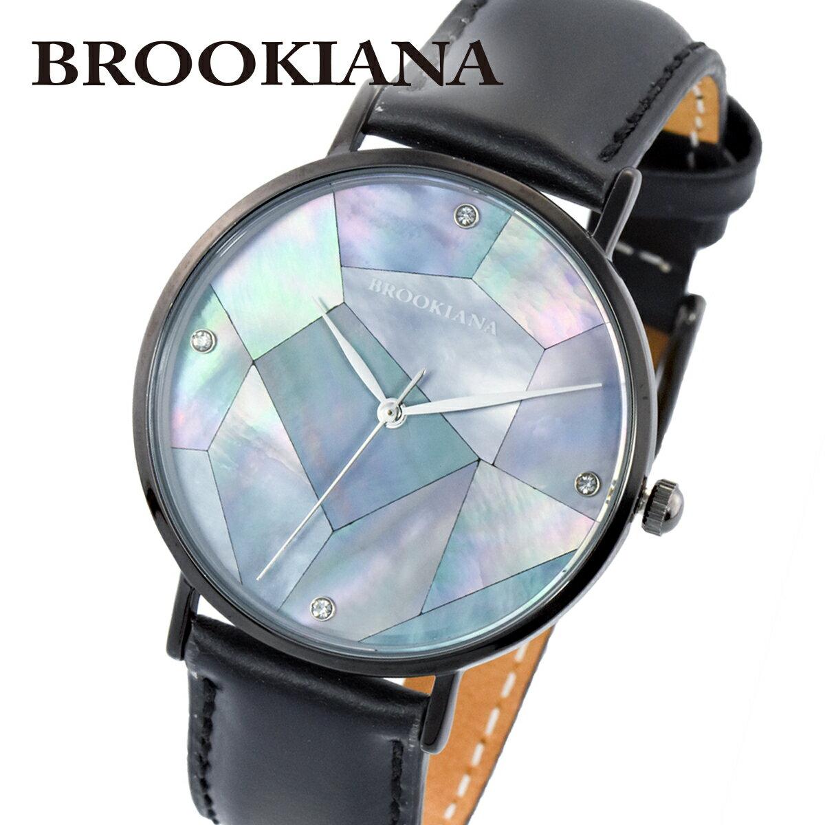 ブルッキアーナ BROOKIANA ROUND SLIM PEARL BA3101-BPBLBK メンズ 時計 腕時計 クオーツ