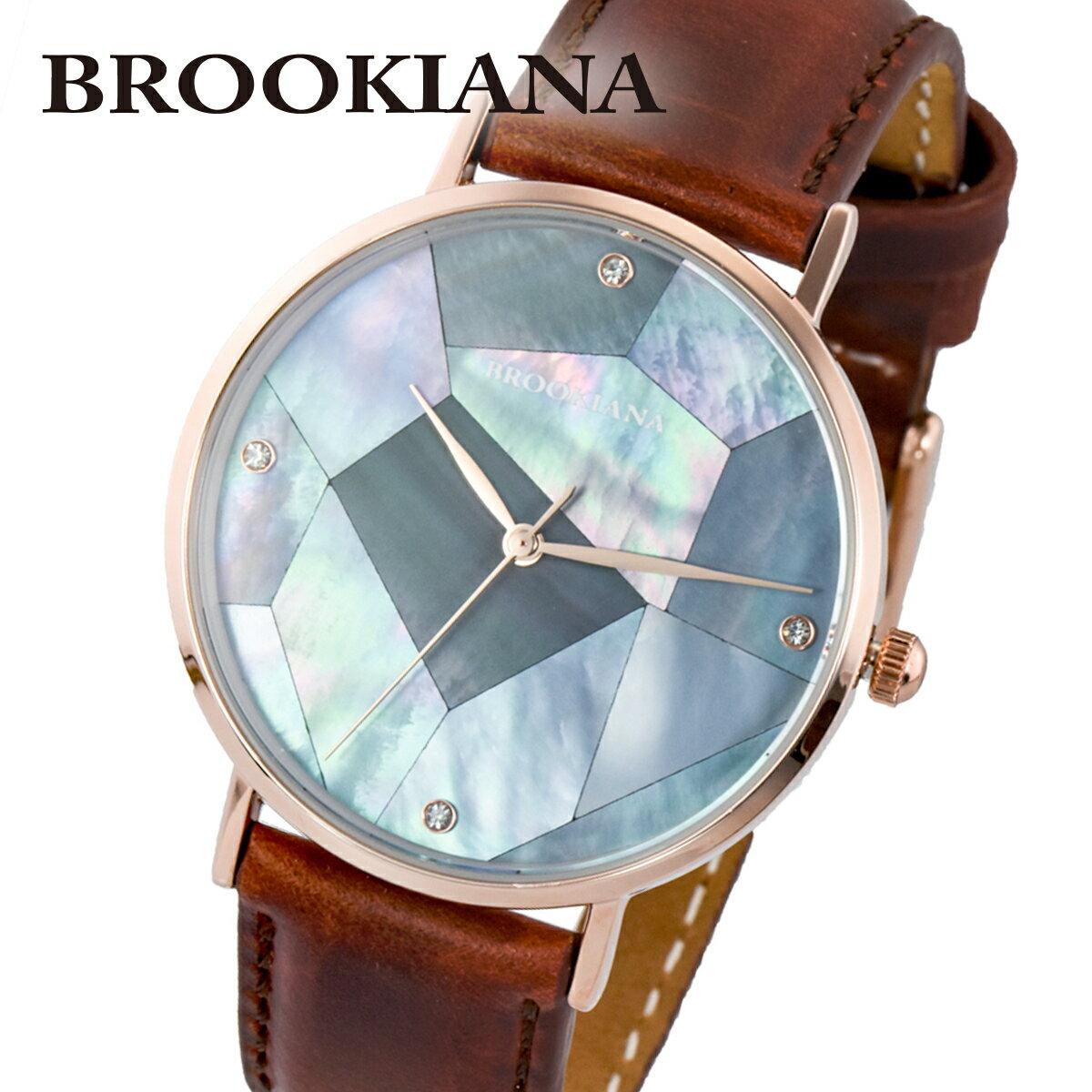 ブルッキアーナ BROOKIANA ROUND SLIM PEARL BA3101-RPBLBR メンズ 時計 腕時計 クオーツ