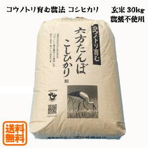 こうのとり米 玄米(30kg)農薬不使用 六方たんぼのコシヒカリ コウノトリ育む農法 令和2年産 兵庫県産【送料無料】