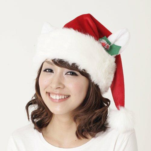 ホワイトキャットサンタ帽 クリスマス コスプレ コスチューム サンタ サンタクロース 衣装